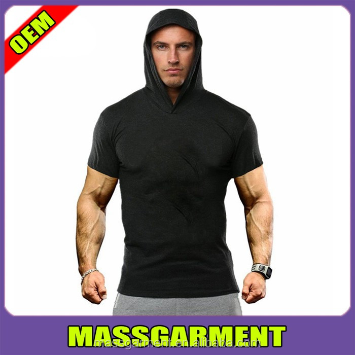 New Men Gym T Shirt Hoodie Short Sleeve Fitness Clothing Hoodie
