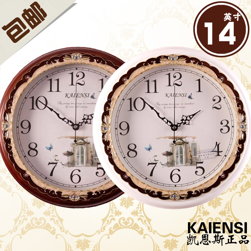 free shipping Fashion solid wood rustic 14 mute wall clock fashion wall clock 331  home decoration