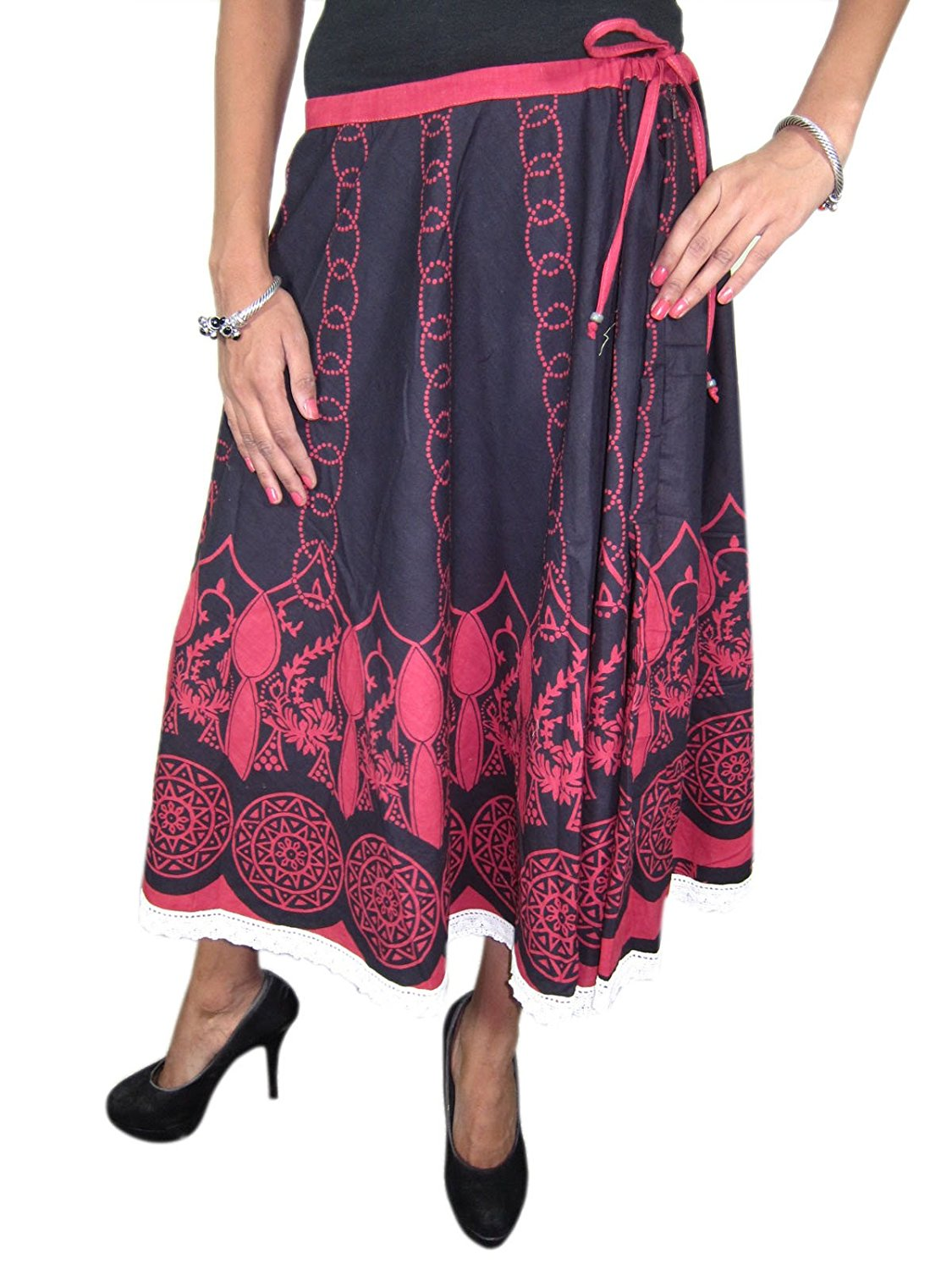 6947aa626 Get Quotations · Women's Peasant Skirt Black Pink Cotton Tribal Printed  Gypsy Flared Skirts