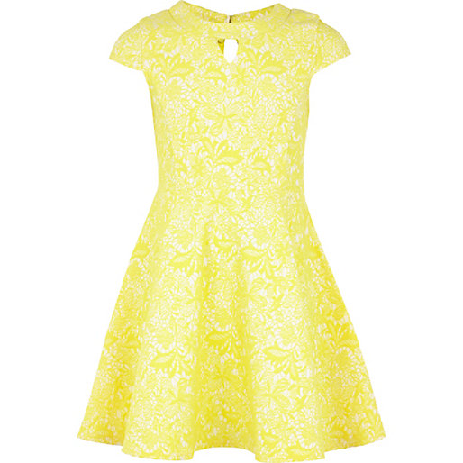 Teenager Girls Short Sleeve Yellow Lace Skater Dress,Kids Flower ...
