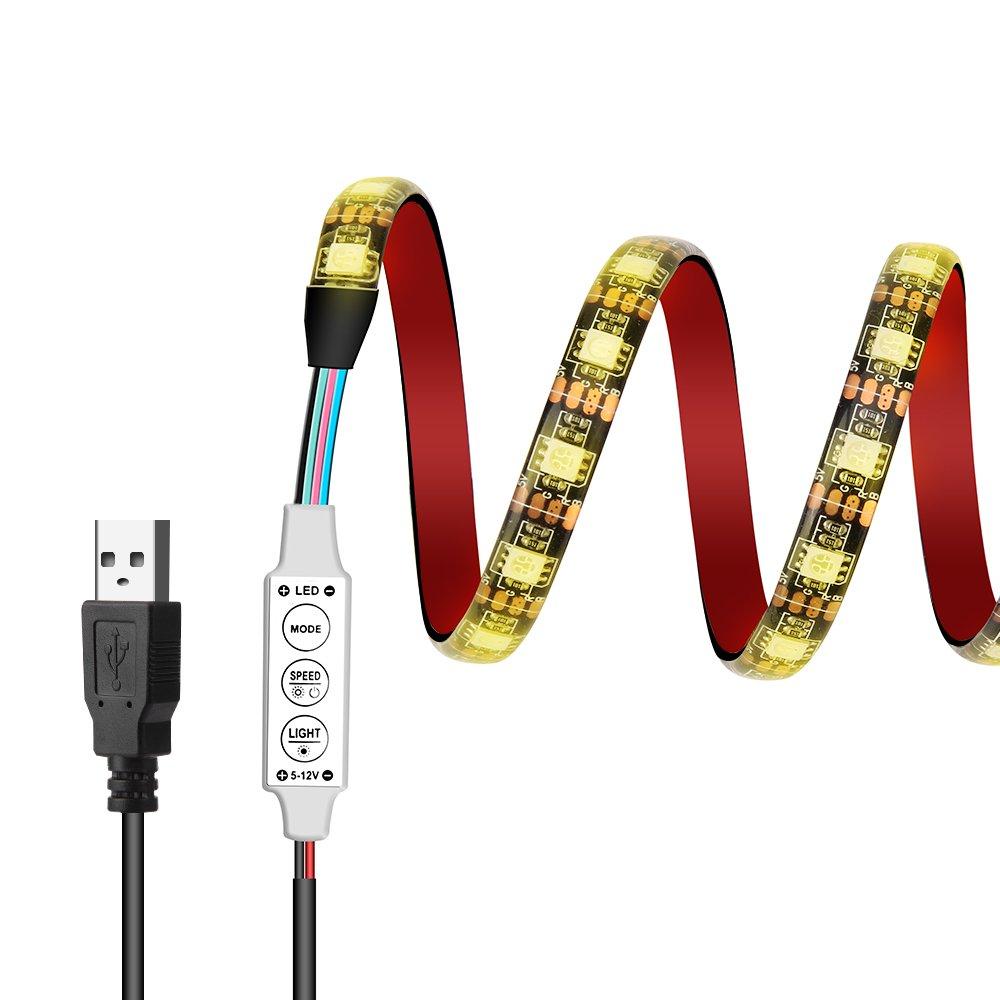 USB LED light strip Targher TV Backlight Kit 5V 3.28Ft/1M 5050 Multi-Color RGB 60leds Waterproof TV Backlight Strip Lighting Kit for HDTV Flat Screen TV, LCD, PC, Desktop Monitors