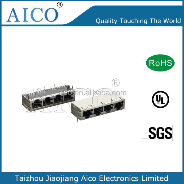 1X4 Port RJ45 100/1000 Magnetic TAB UP connector With filter