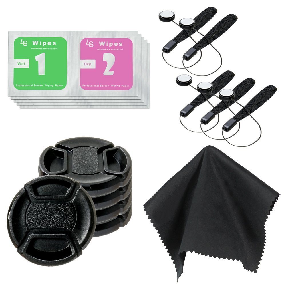 LS Photography 52mm Lens Cap(x5) & Lens Cap Holder(x5) & Black SuperFiber Cleaning Cloth(x1) & Wet/Dry Wipes(x5), Camera and Lens Cleaning Kit, Photo Studio, LGG443