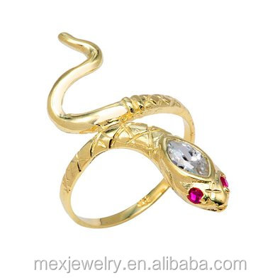 Tono Oro Anillo De Serpiente Diamante