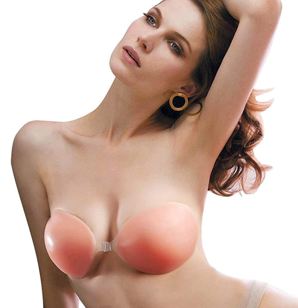 092132cf3605c Get Quotations · Edith qi Strapless Self Adhesive Silicone Invisible Push-up  Bra For Perfect Cleavage