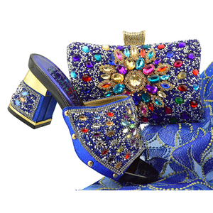Latest matching italian shoes and bag set Nigeria party wedding royal blue high heels sandals