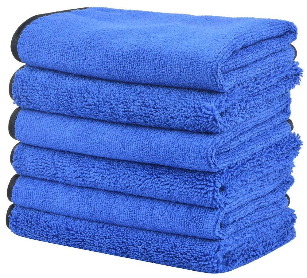 KinHwa Microfiber Auto Detailing Towels Dual Pile Terry Weave Car Cleaning Towels Ultra Soft Professional Car Wash Drying Towels Scratch Free 400gsm 16Inch x 16Inch 6 Pack Blue