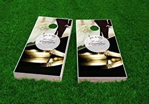 Wedding Gold Rings Cornhole Set, 2x4, 1x4 Frame, Wood, Handmade, ACA Regulation, Portable, Includes 8 Bags