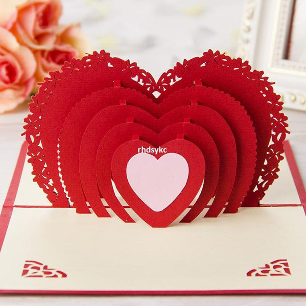 Открытка в форме сердца из бумаги, рисунок поздравлений