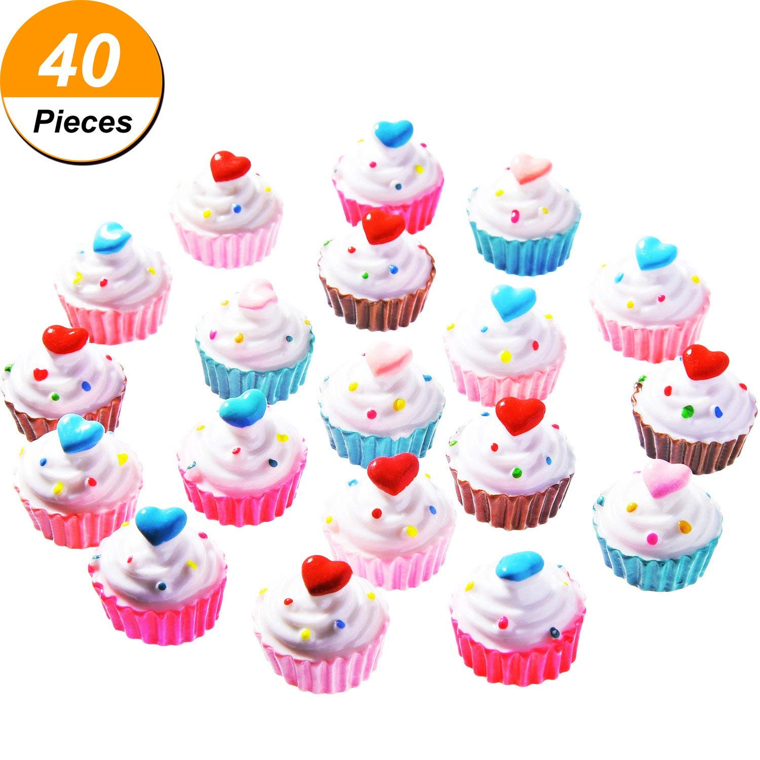 TecUnite 40 Pieces Cupcakes Slime Charms Slime Beads Supplies for Homemade Crafts, Assorted Colors