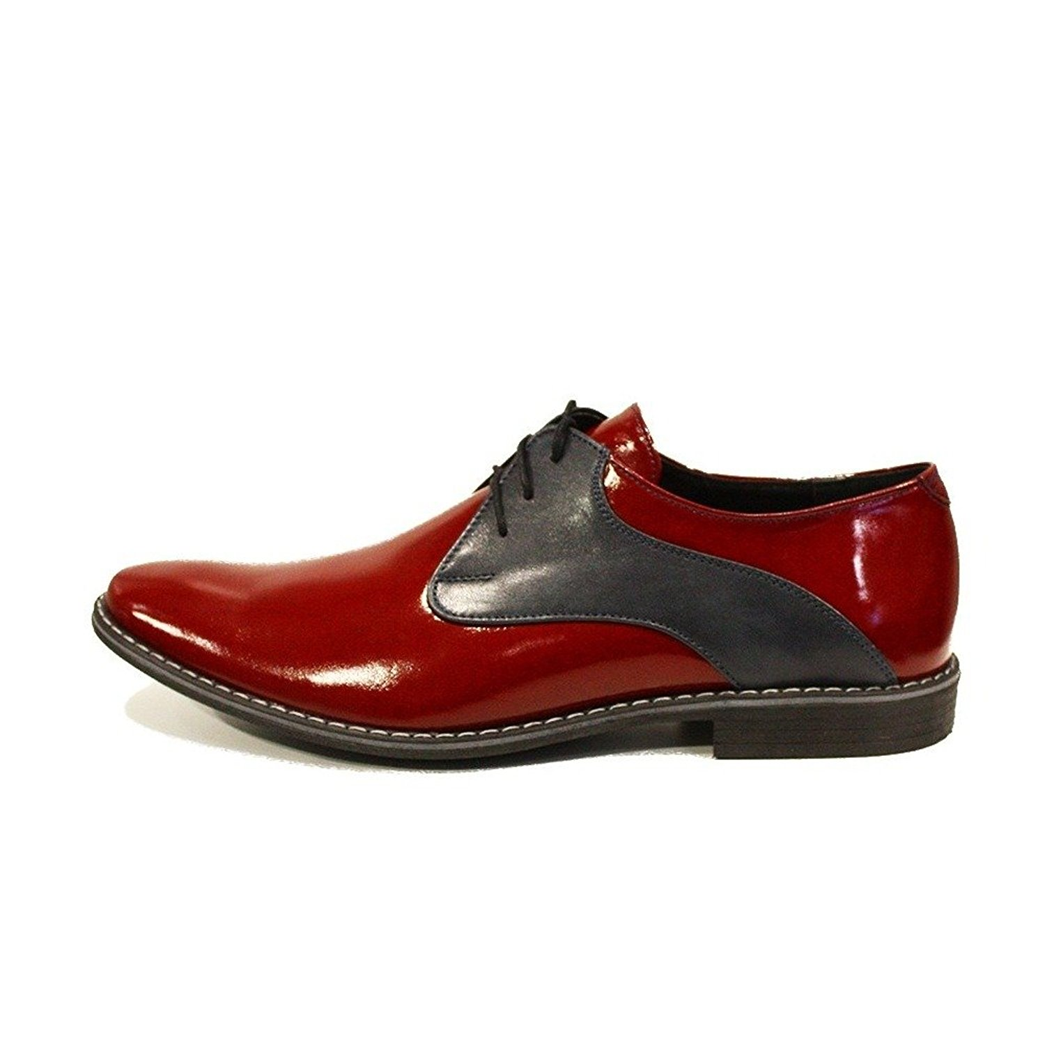 Modello Otito - Handmade Italian Mens Red Oxfords Dress Shoes - Cowhide Patent Leather - Lace-up