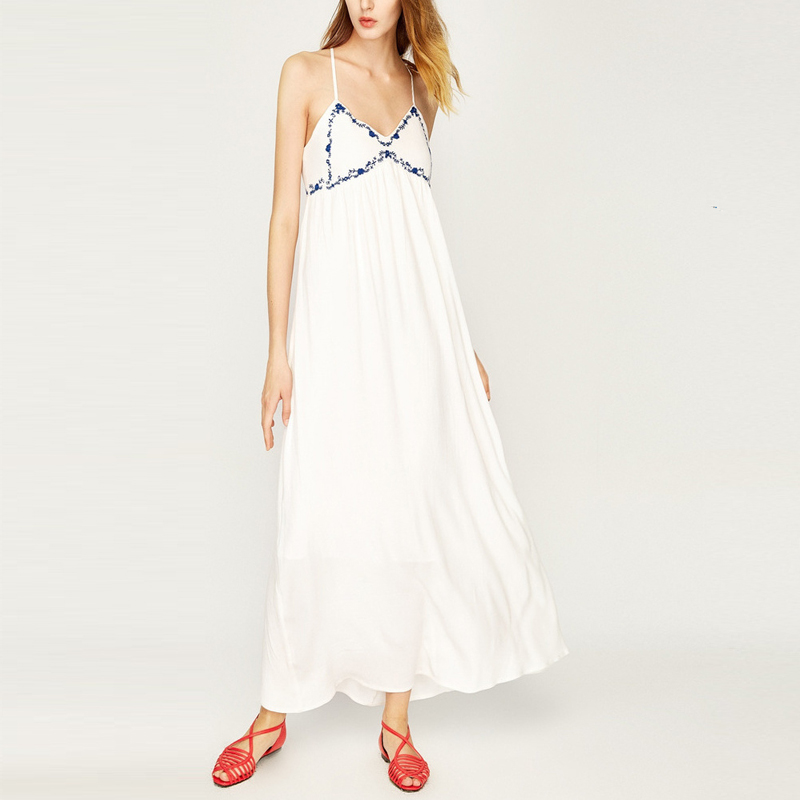Cami embroidery white beach floor length maxi open breast dress