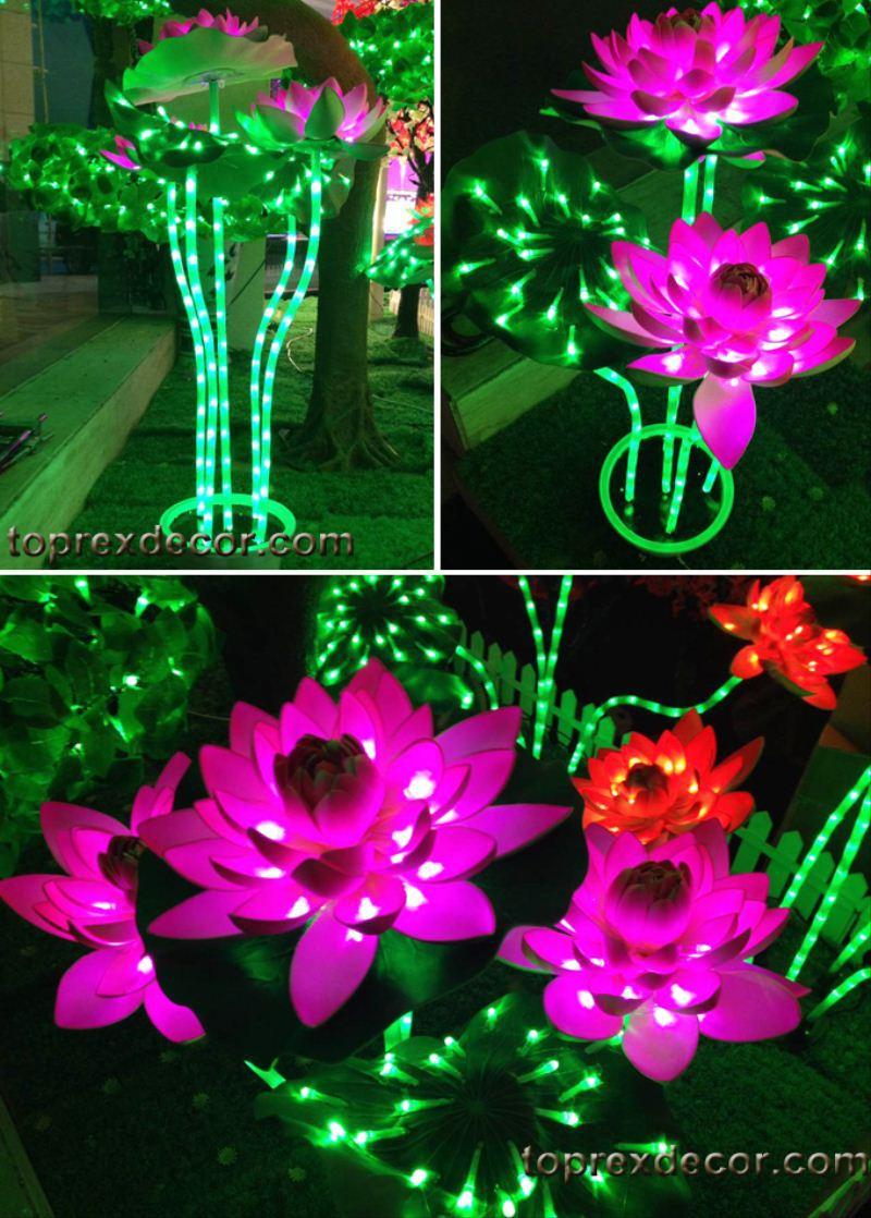 Garden decoration LED blue lotus flower