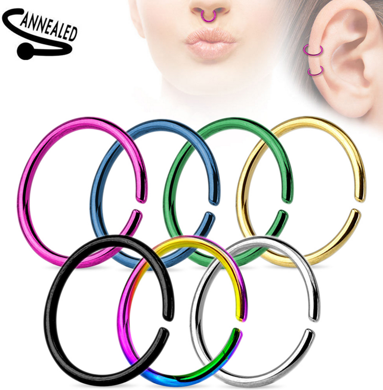 Nose Lip Ear Cartilage Daith Rook Lobe Septum Rings - Titanium Anodized Surgical Steel