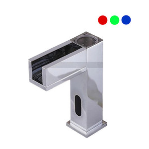 LED Color Electronic Tap Bath Waterfall Basin automatic sensor faucet