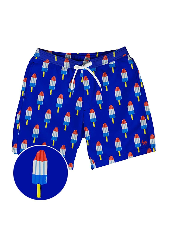 38ec6e4cb0 Get Quotations · Tipsy Elves Men's Patriotic USA Red White and Blue Swim  Trunks - American Flag Swim Suit