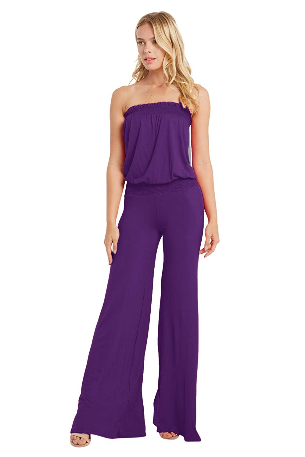 c211a7748f40 Get Quotations · Poshsquare Women s Smocked Tube Strapless Jersey Wide Leg  Pants Plus Jumpsuit Playsuit USA