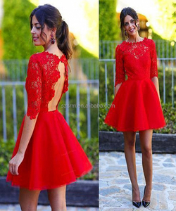 Red Mini Cocktail Party Wear Dress Hollow Back 1/2 Sleeve Lace A Line Zipper Formal Evening Dress
