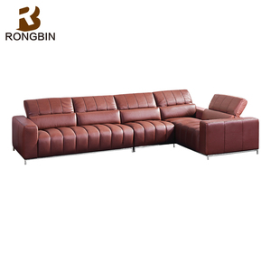 Modern design recycled genuine thick leather L sofa in guangdong foshan furniture