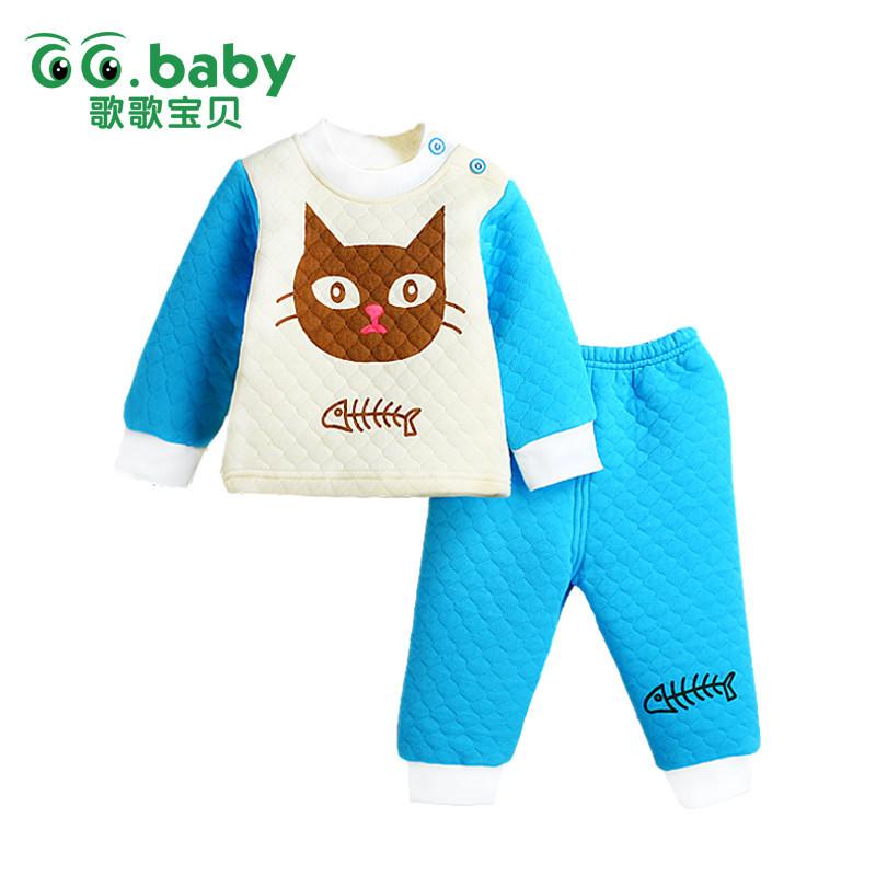 2016 New 2pcs Cotton Winter Baby Clothing Sets Cheap Warm
