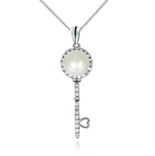 2017 christmas gift 925 silver key freshwater pearl pendant