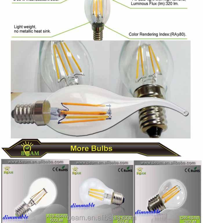 C35 4w 220v E14 Dimmable Ecosmart Led Light Bulb
