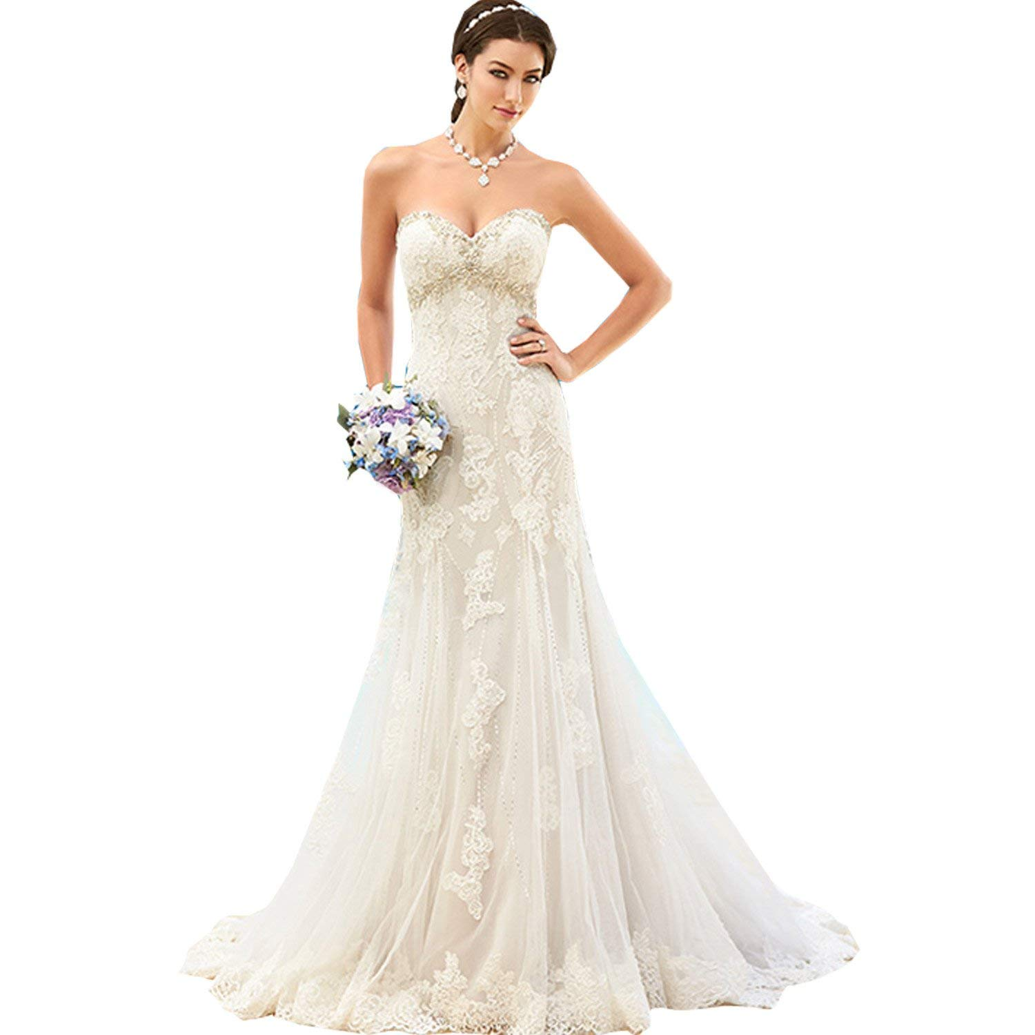9ad781534a Get Quotations · Fenghuavip Elegant Sweetheart Ivory Tulle with Train Brides  Wedding Gowns