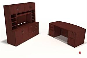 Peblo Executive Bowfront Office Desk Workstation, Credenza Overhead Storage