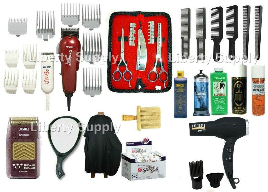 LIBERTY SUPPLY Professional Barbershop Hairsalon Barber / Hairstylist Hairdresser Cosmetology School Barber School Kit Wahl Designer Clipper Wahl Peanut Trimmer Wahl 5-Star Shaver 5.5 Styling Shears Thinning Shears Hairshaper Straight Edge Razor Flattop Comb Wahl Guards Universal Clipper Trimmer
