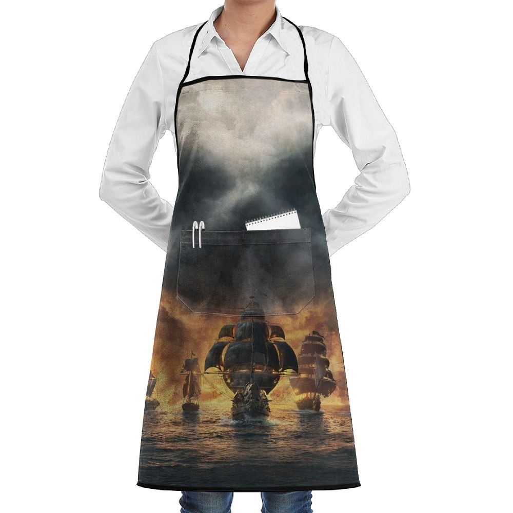 Pirate Ocean Ship Skull Apron Lace Adult Mens Womens Chef Adjustable Polyester Long Full Black Cooking Kitchen Aprons Bib With Pockets For Restaurant Baking Crafting Gardening BBQ Grill