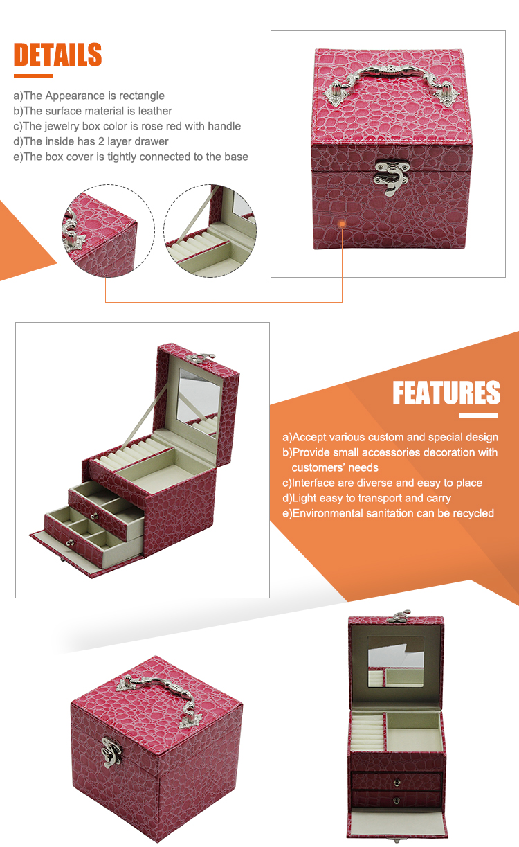 c2204a1ec Rose Red With Silver Handle Leather Jewelry Box Mirror Stand Up ...