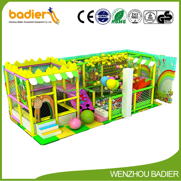 KFC Type Indoor Kids Soft Play Cubby House with Slides, Cafe Room Kids Plastic Slides