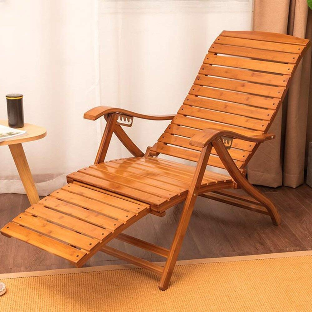 Rocking Chairs MEIDUO Bamboo Adjustable Reclining Chair Pool Patio Outdoor Lounge Chairs w/Cushion 6 level adjustable