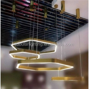 Home office suspension Hanging Lamps Bronze Brass Hexagon LED Hanging Pendant Lights
