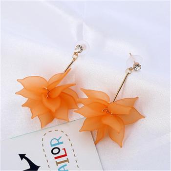 Elegant Fabric Flower Stud Earrings Retro Style Imitated Diamond For Women