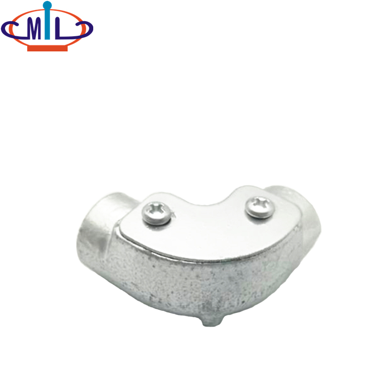 BS4568 malleable iron hot dip galvanized 20mm conduit solid inspection elbow
