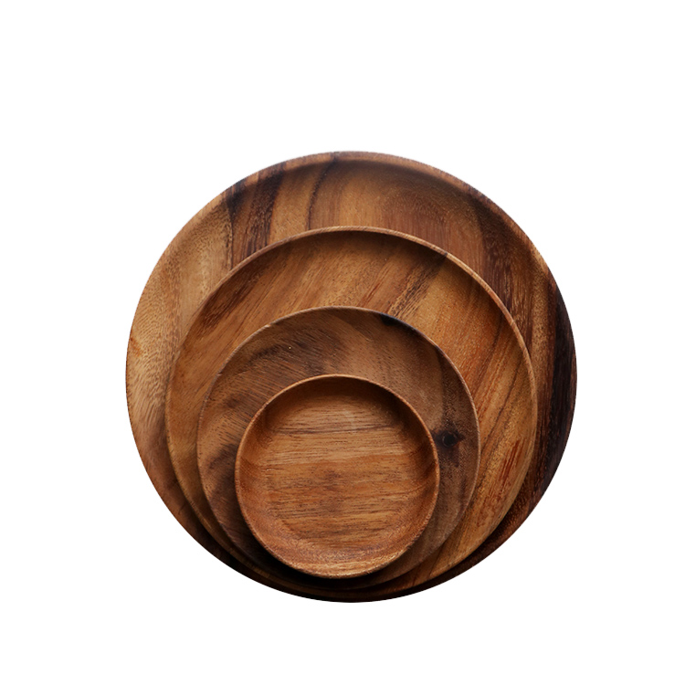 8 Inch Customized Logo Natural Food Snack Acacia Round Wooden Plate For Dining Tableware