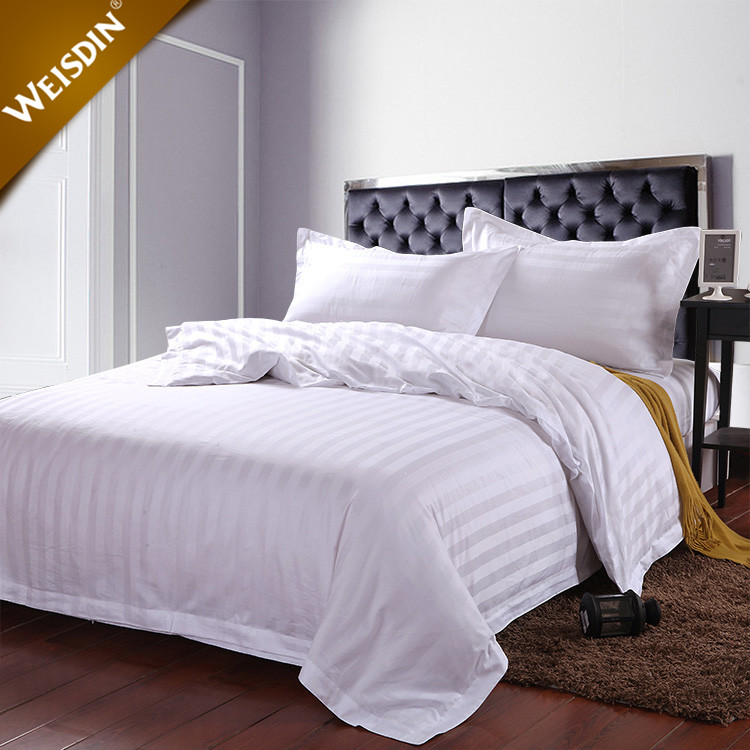 Luxury white single bed satin fabric stripe bedclothes duvet covers bed sheet bed linen bedding sets