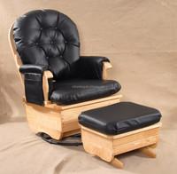 Big Seat PU Cushion Natural Wood Rocking Chair with Ottoman
