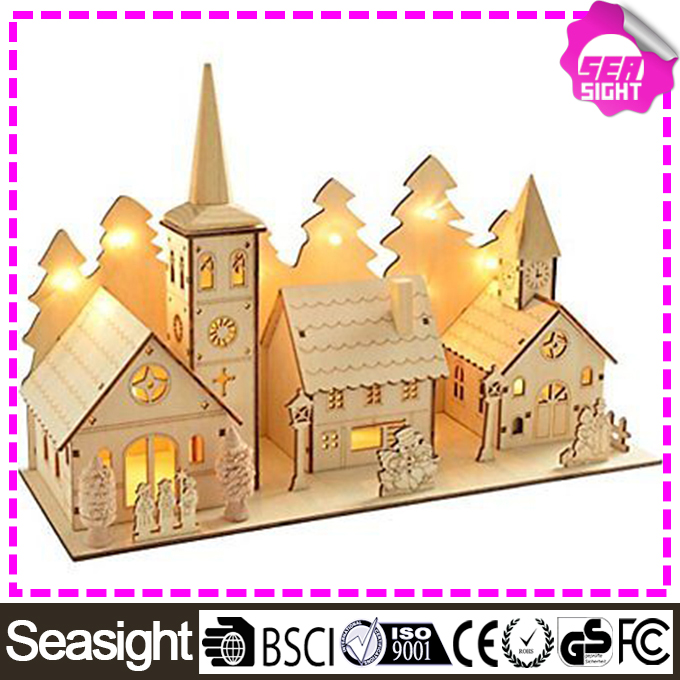 35 cm Decoration Wooden Church and Village Scene new style led christmas light