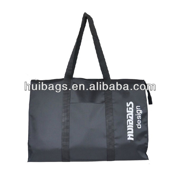 Black Canvas Tote Bag With Outside Pockets Bag