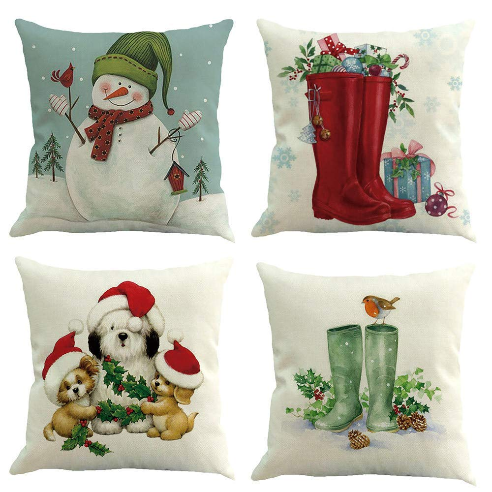 OWMEOT Christmas Pillow Covers 4 Pack, Print Snowman,Christmas Tree,Christmas Deer,Santa Claus, Merry Christmas Decorative Sofa Throw Pillow Case Cushion Covers 18 X 18 Inch,Cotton Linen (E)