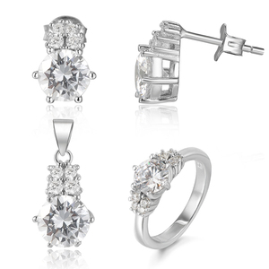 Luxury rhodium plated 925 sterling silver synthetic diamond wedding jewelry sets