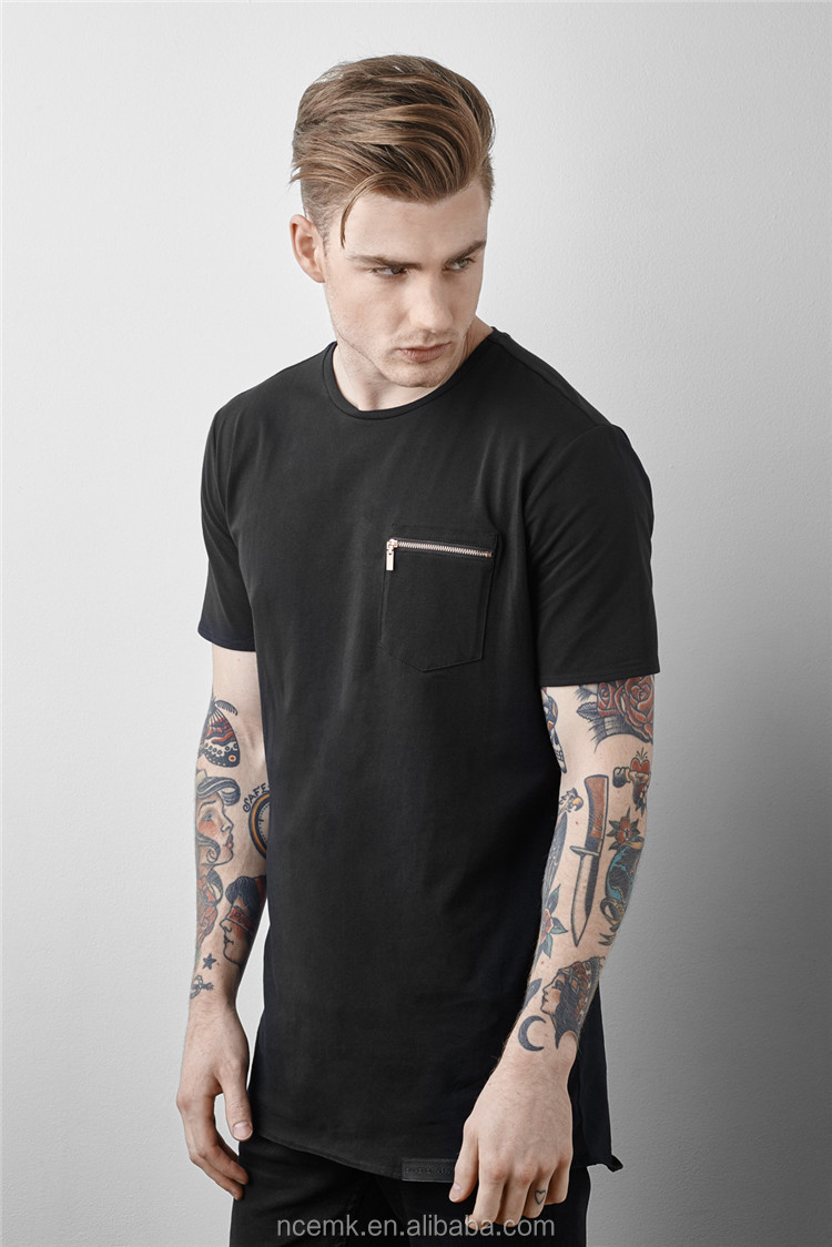 Black t shirt style - Black T Shirt With Zipper Mens Oversized T Shirt Wholesale