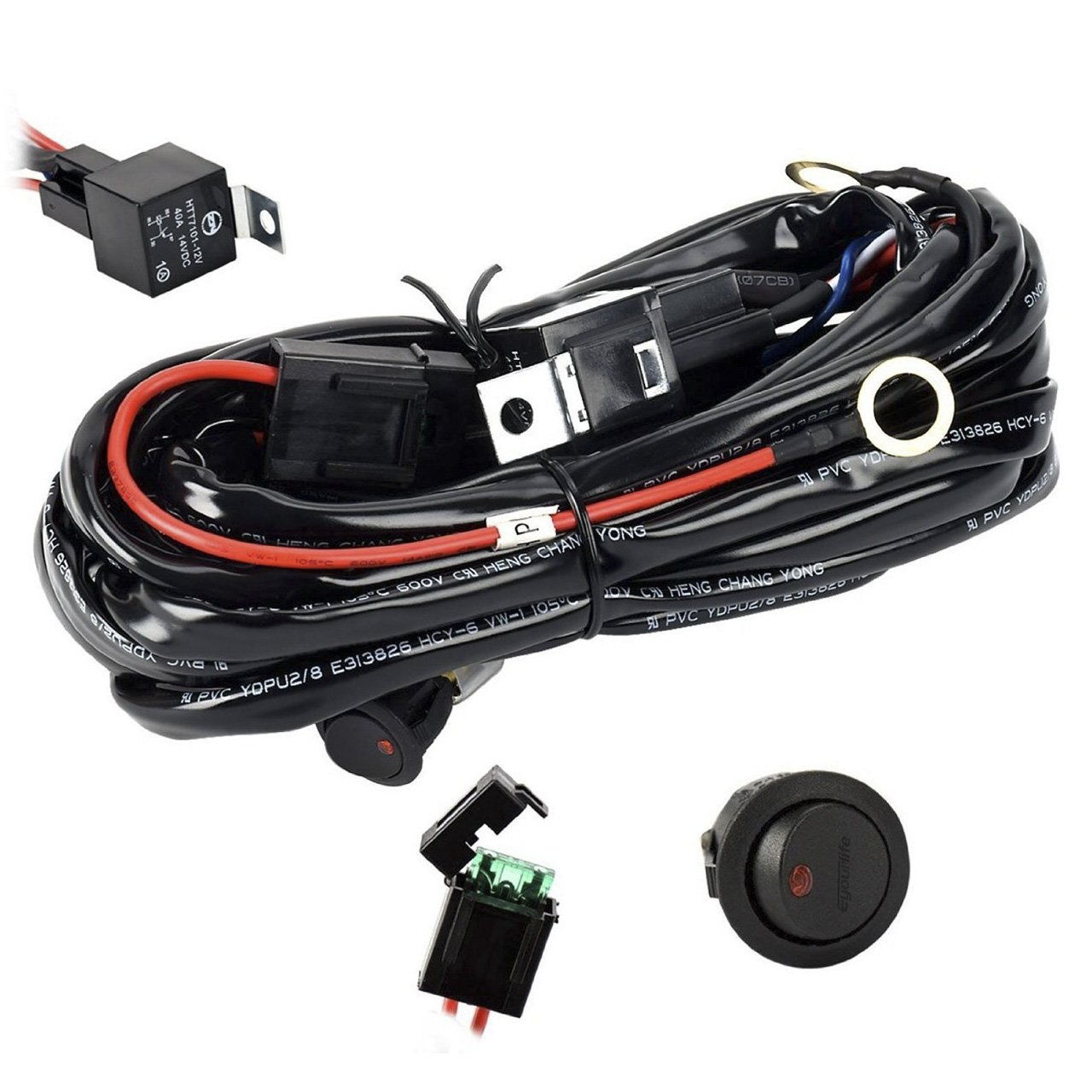 Buy Eyourlife 12v 40a Off Road Led Light Bar On Power Switch Universal Wiring Relay Harness For 36w 72w Heavy Duty Kit 300w Fuse 14awg 12ft Length Fitment