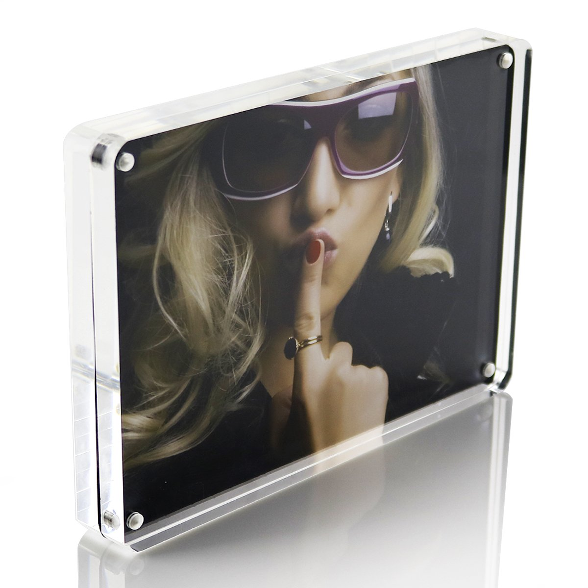 5x7 Double Sided Magnetic Clear Acrylic Glass Picture Frames - Round Corner 12+12mm Thickness Acrylic Block Desktop Picture Frame - Frameless Desktop Card Display with Gift Box Package - SupperAcrylic