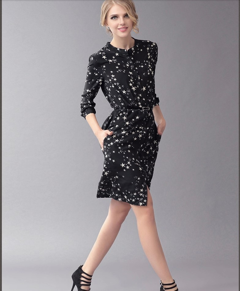 New 2015 Print Star Dress,Women Casual Vintage Women