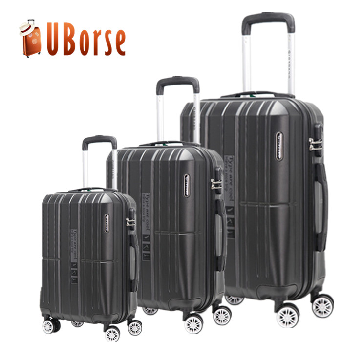 2018 Promotional 3 Pcs Luggage Travel Set Bag ABS+PC Trolley luggage