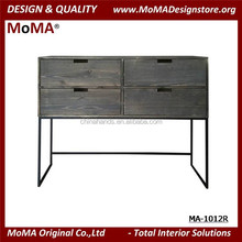 MA-1012R Antique Design Wood Living Room Decorative Storage Cabinet With Stainless Steel Legs
