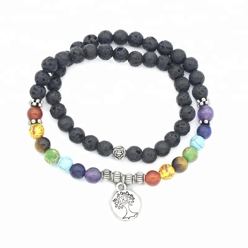 natural stone chakra yoga tree of life bracelet